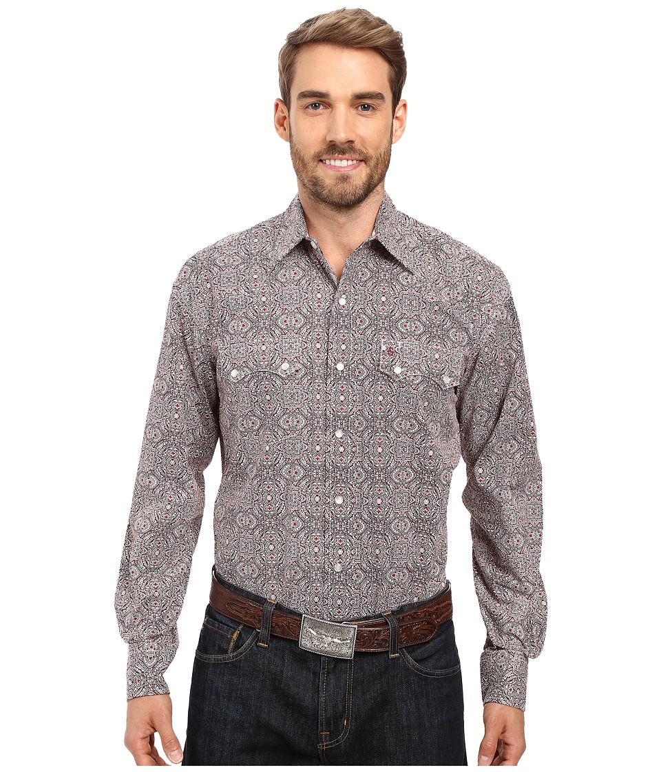Stetson - Mirror Medallion Long Sleeve Woven Snap Shirt (Black) Men's Clothing