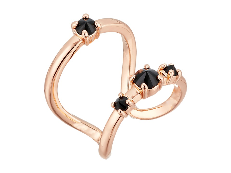 Rebecca Minkoff - Stone Negative Space Ring (Rose Gold with Jet) Ring