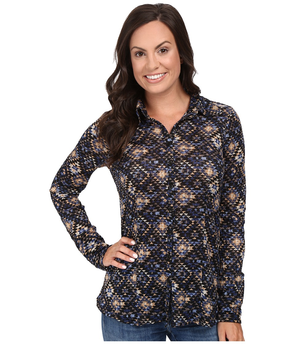 Stetson - Aztec Tapestry Print Long Sleeve Woven Western Shirt (Blue) Women's Clothing