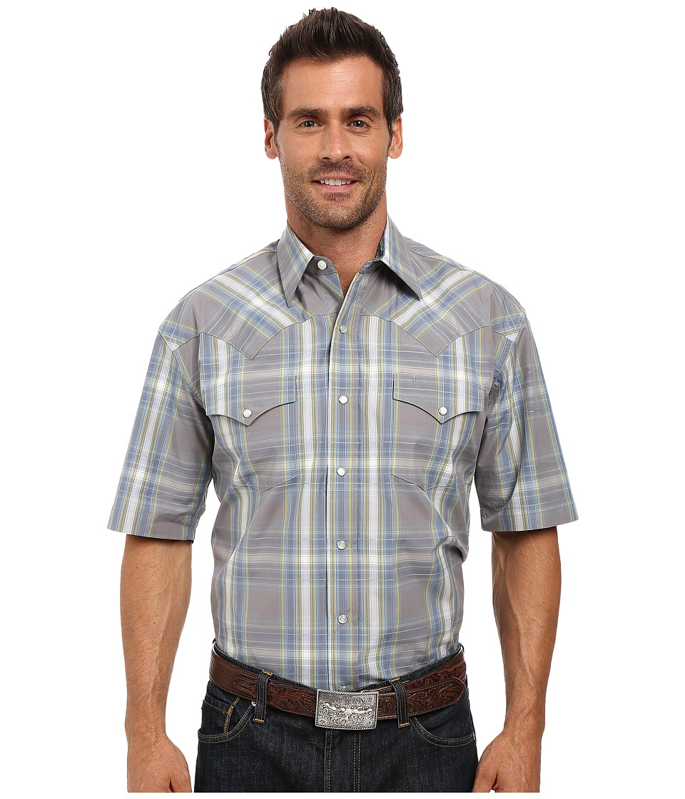 Stetson - Mineral Plaid Short Sleeve Woven Snap Shirt (Grey) Men's Clothing