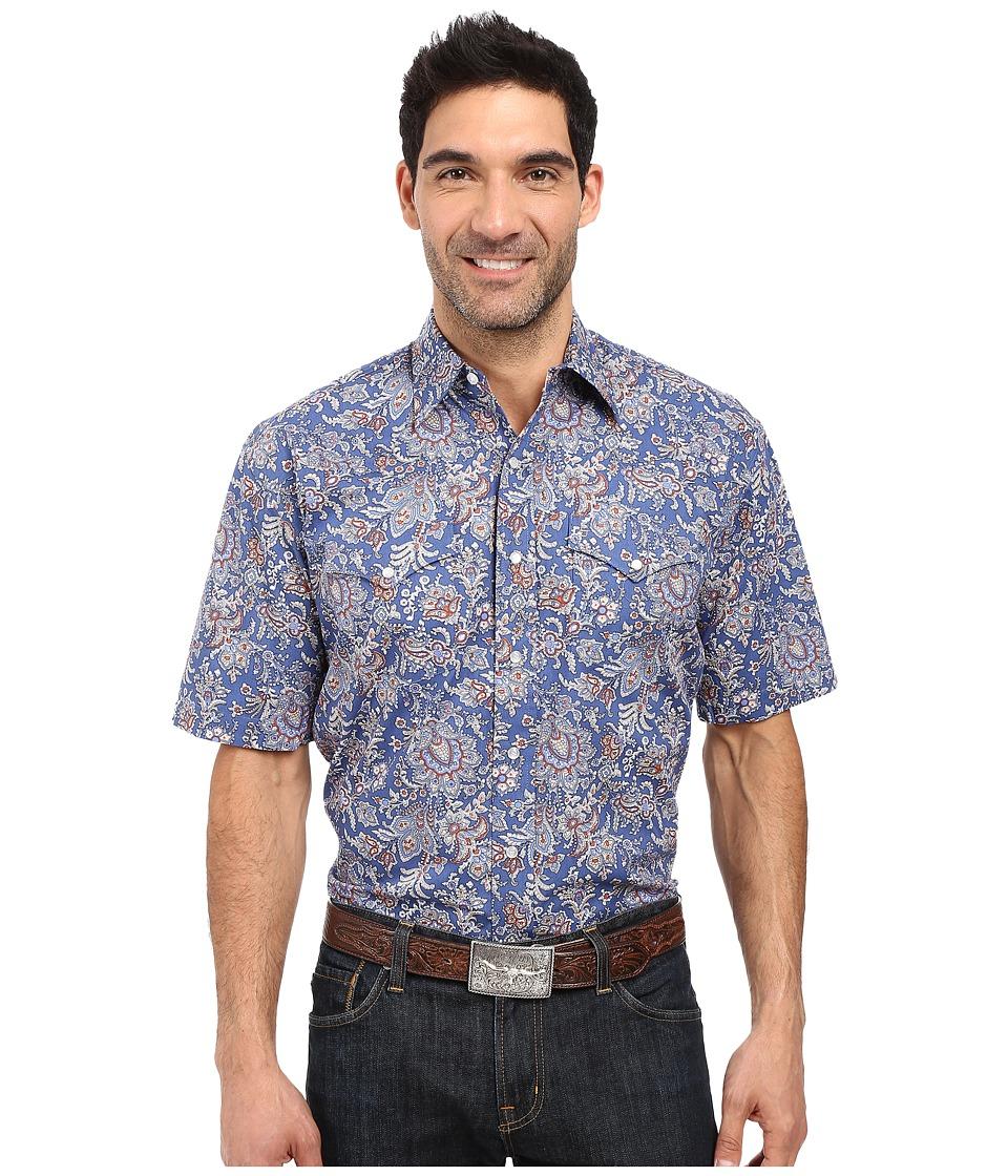 Stetson - Brocade Paisley Short Sleeve Woven Snap Shirt (Blue) Men's Clothing