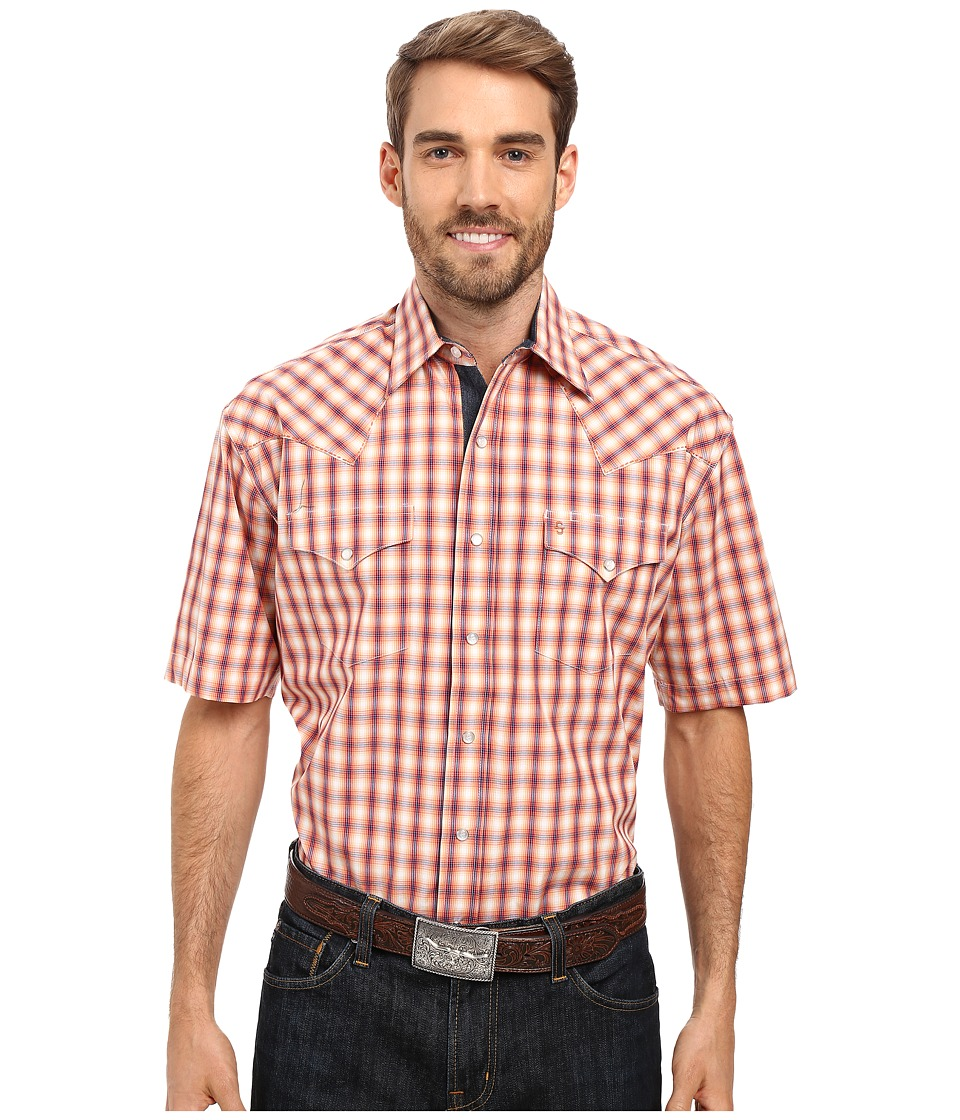Stetson - Spectral Check Short Sleeve Woven Snap Shirt (Orange) Men's Clothing