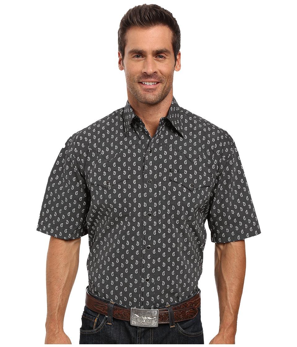 Stetson - Paisley Dot Short Sleeve Woven Snap Shirt (Black) Men's Clothing