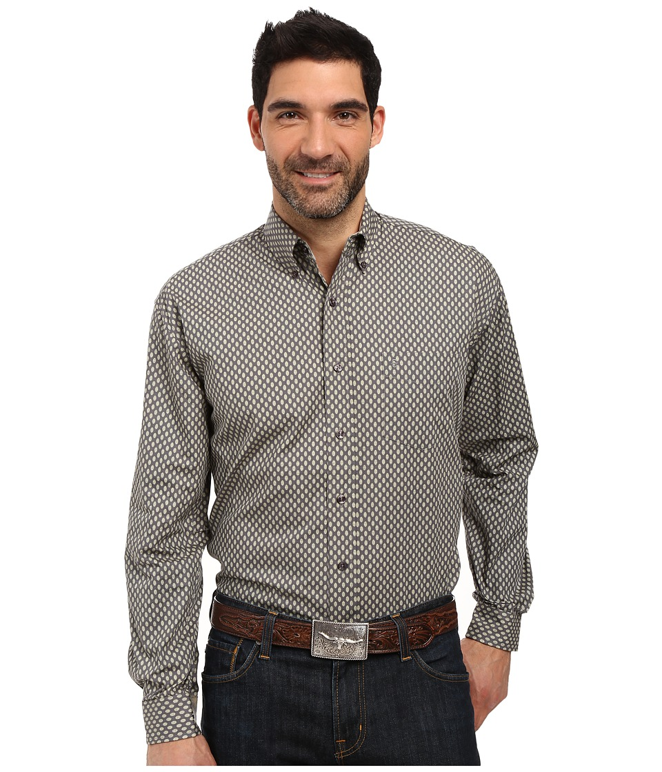Stetson - Odyssey Print Long Sleeve Woven Button Shirt (Grey) Men's Long Sleeve Button Up
