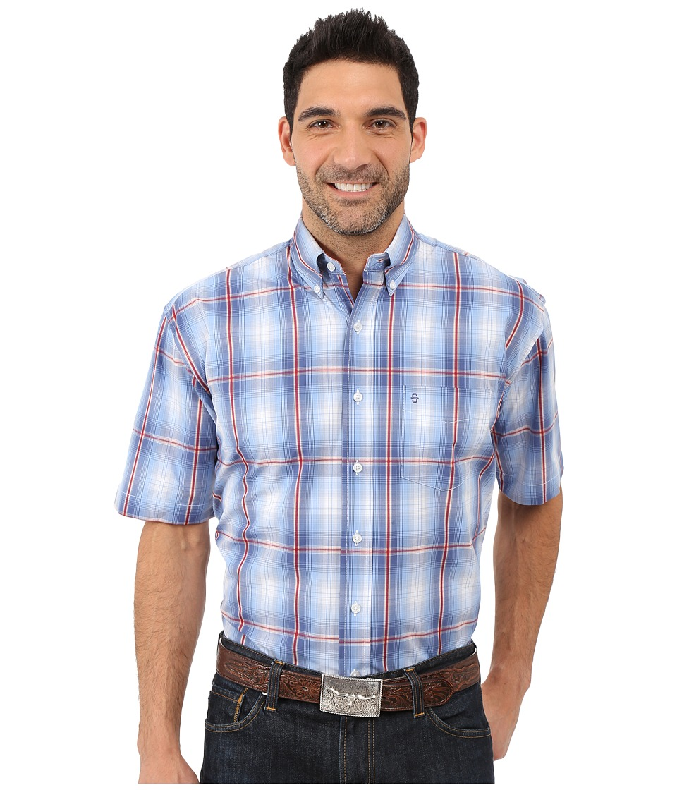 Stetson - Smokey Blue Ombre Sleeve Woven Button Shirt (Blue) Men's Short Sleeve Button Up