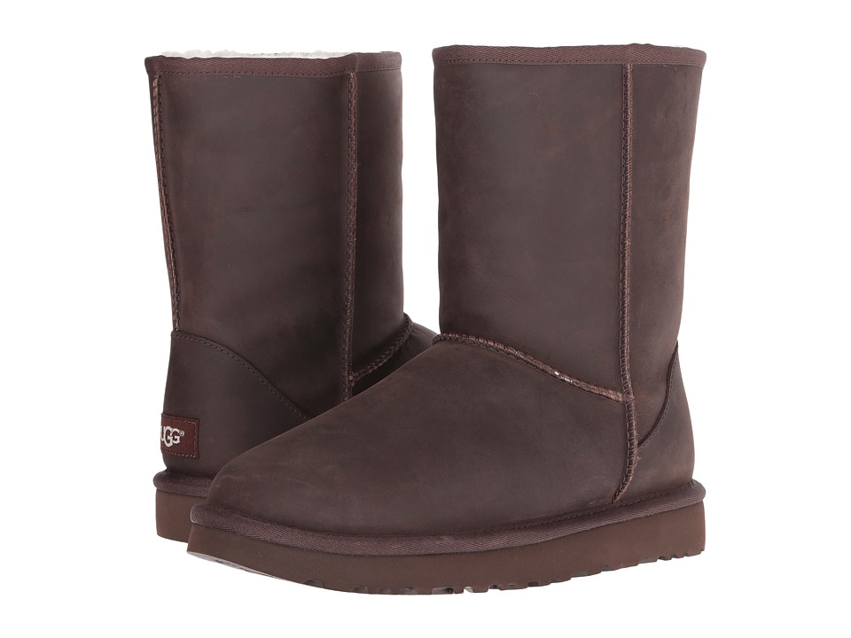 UGG - Classic Short Leather (Brownstone 2) Women's Cold Weather Boots