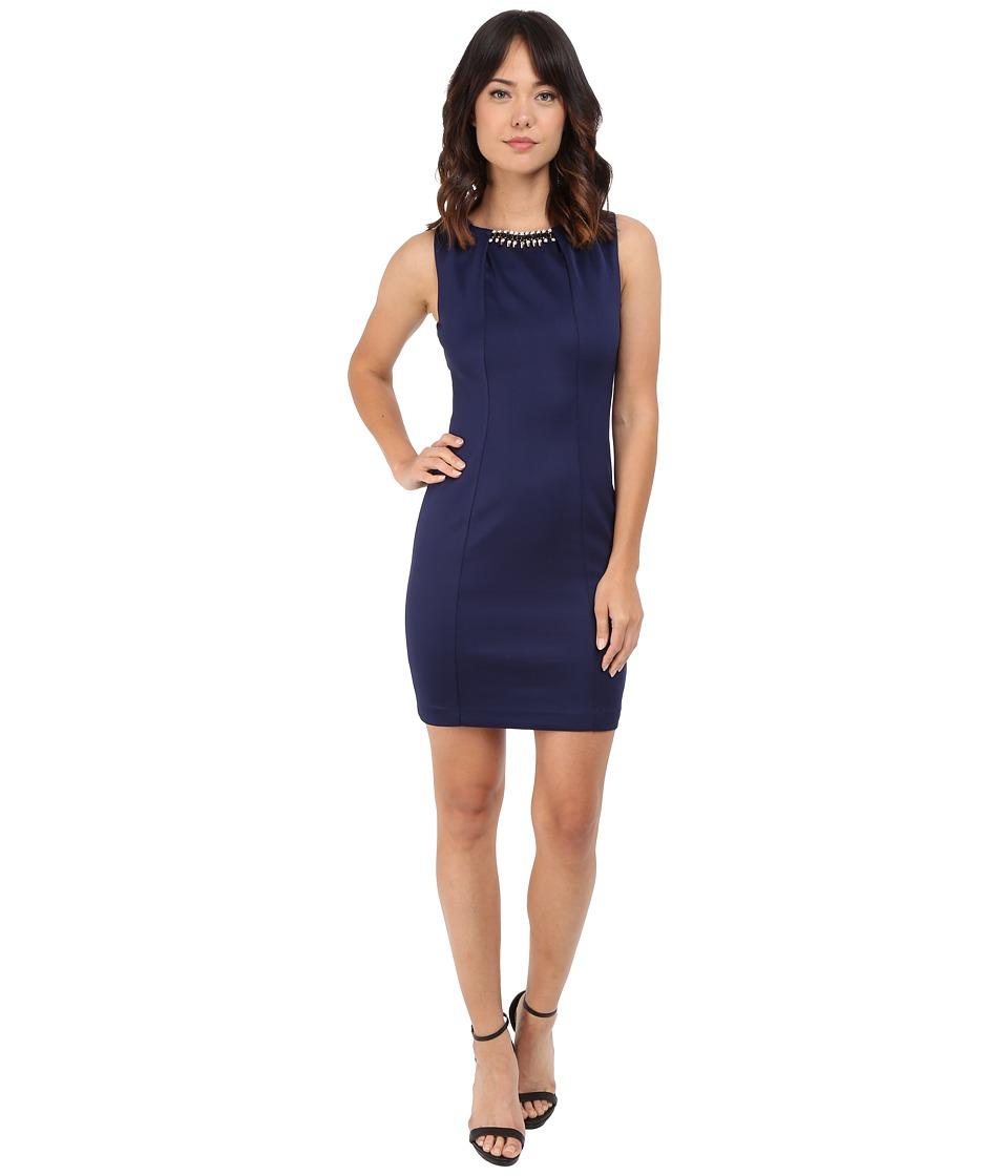 Jessica Simpson - Embellished Sleeveless Scuba Dress JS5D7736 (Navy) Women's Dress
