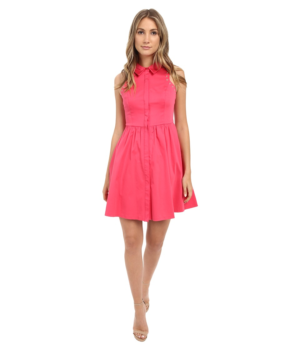Jessica Simpson Cotton Satin Shirtdress (Watermelon) Women