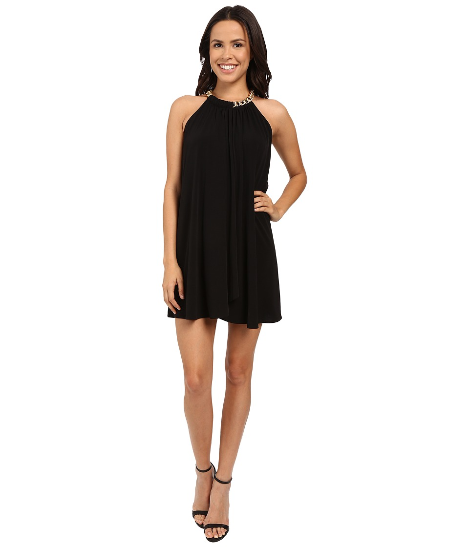 Jessica Simpson Solid Ity Dress with Gold Chain Necklace JS6D8545 (Black) Women