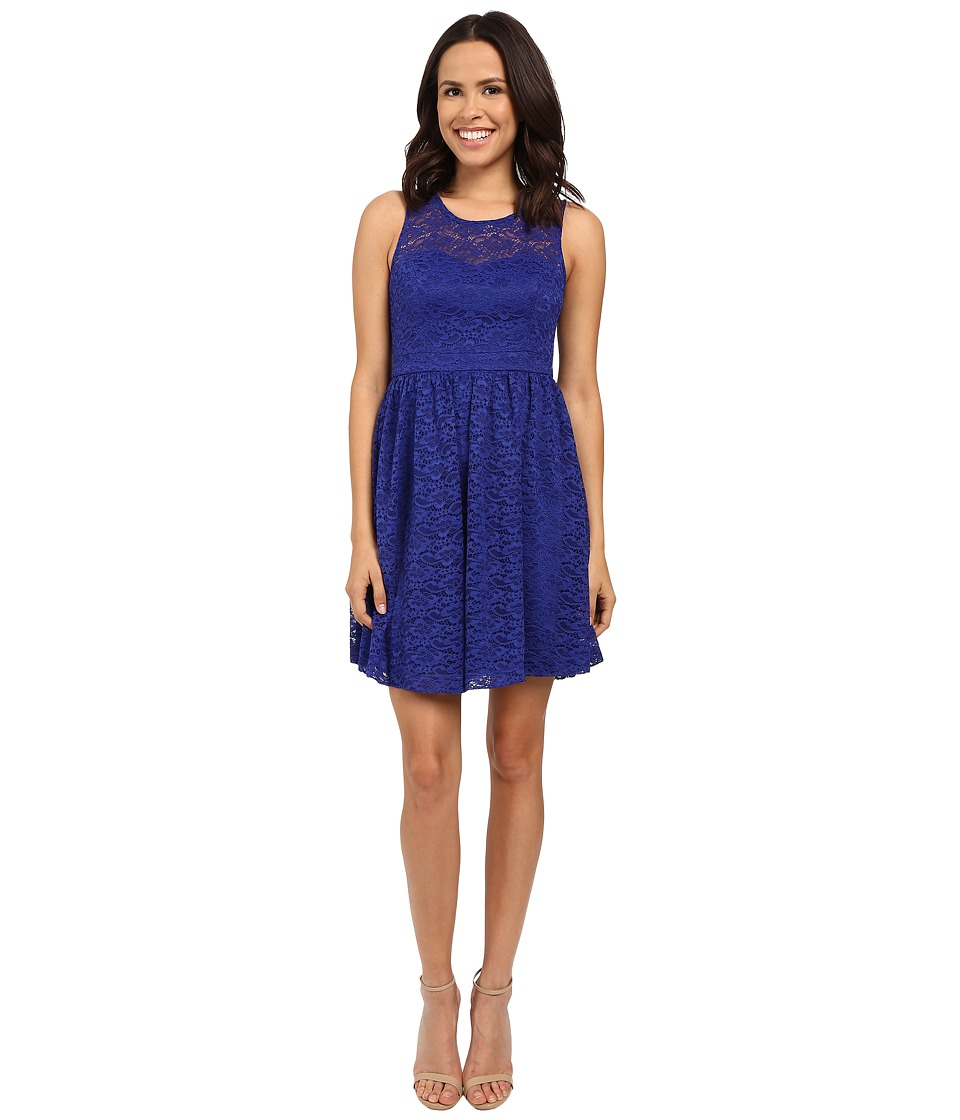 Jessica Simpson - Floral Lace Fit and Flare Dress JS6D8645 (Blue Violet) Women's Dress