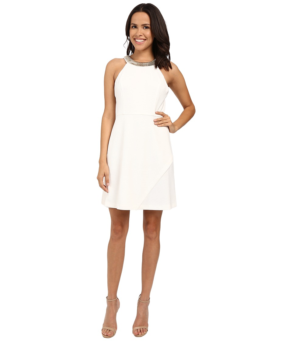Jessica Simpson Ottoman Solid Dress with Gold Neck Trim JS6D8550 (Ivory) Women