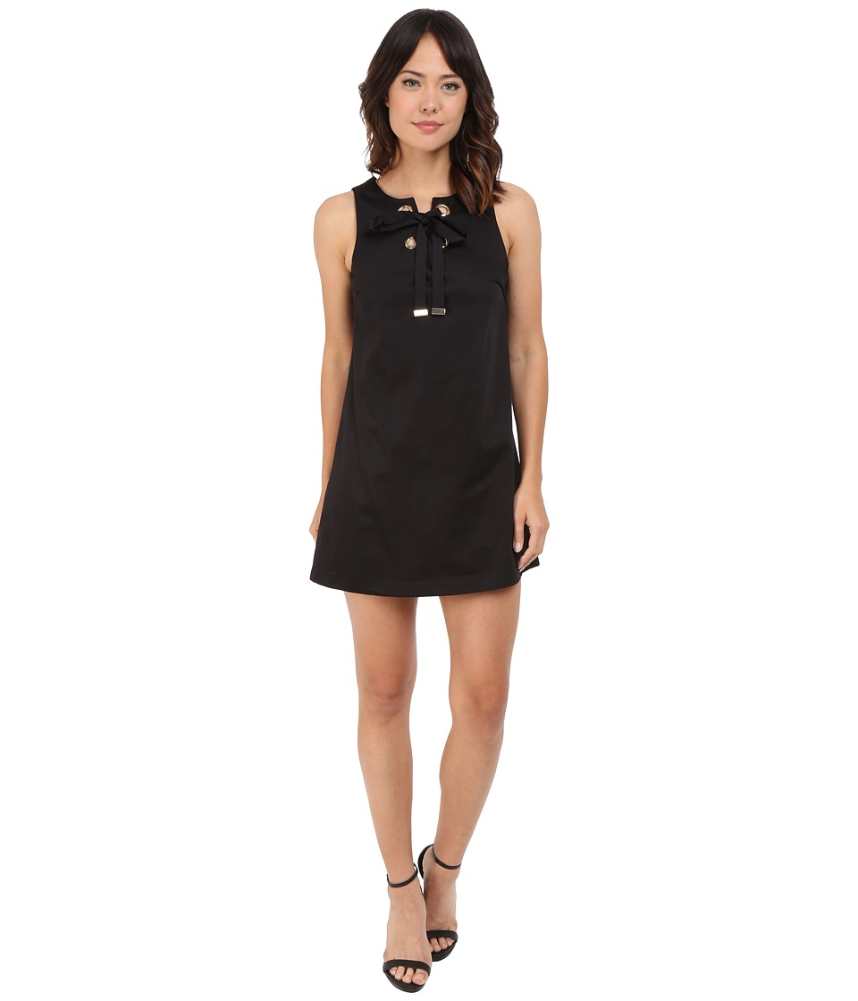 Jessica Simpson Solid Cotton Satin Dress with Front Bow JS6D8560 (Black) Women