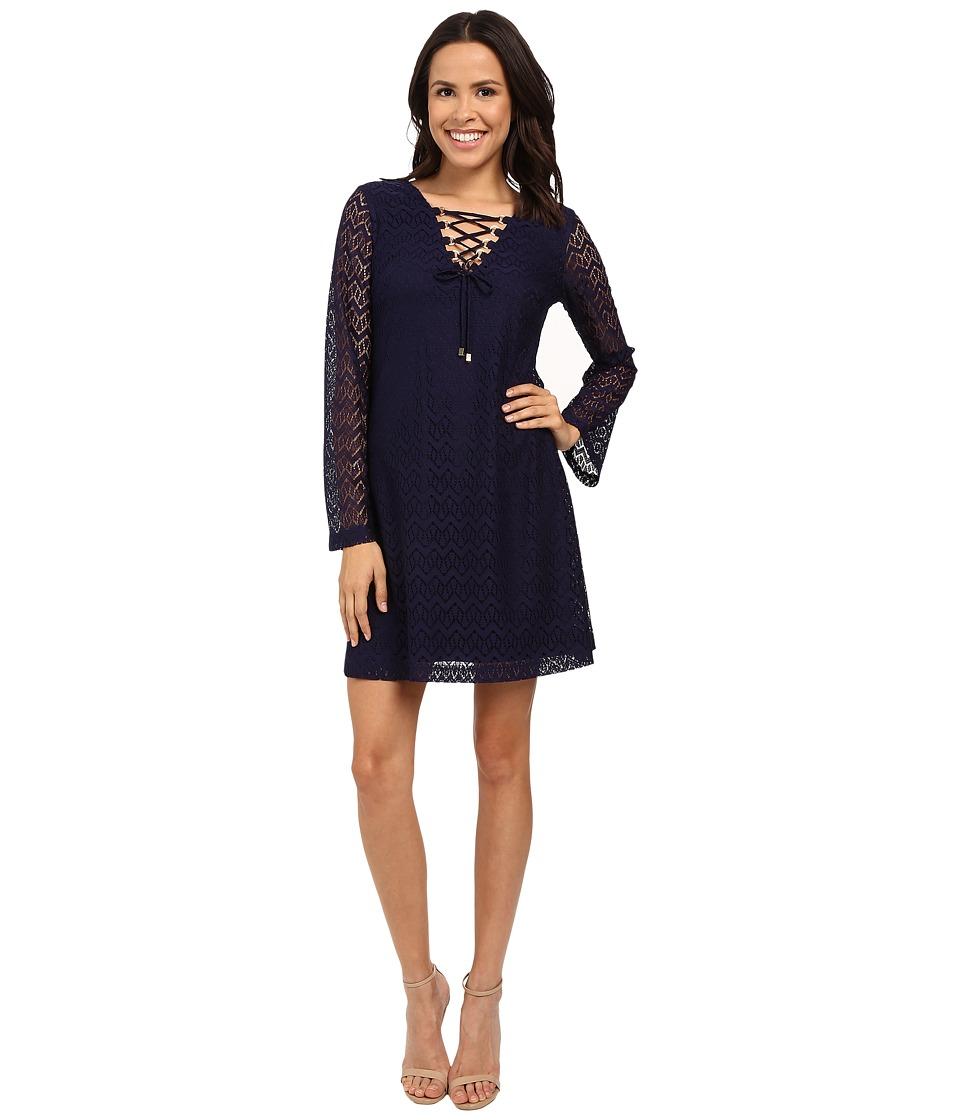 Jessica Simpson 3/4 Sleeve Lace Shift Dress JS6D8546 (Navy) Women