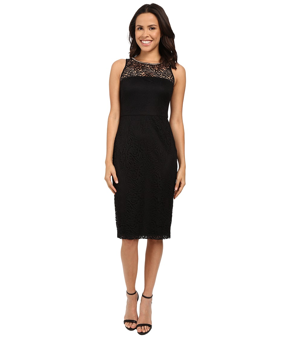 Jessica Simpson Sleeveless Lace Midi Dress JS6D8548 (Black) Women