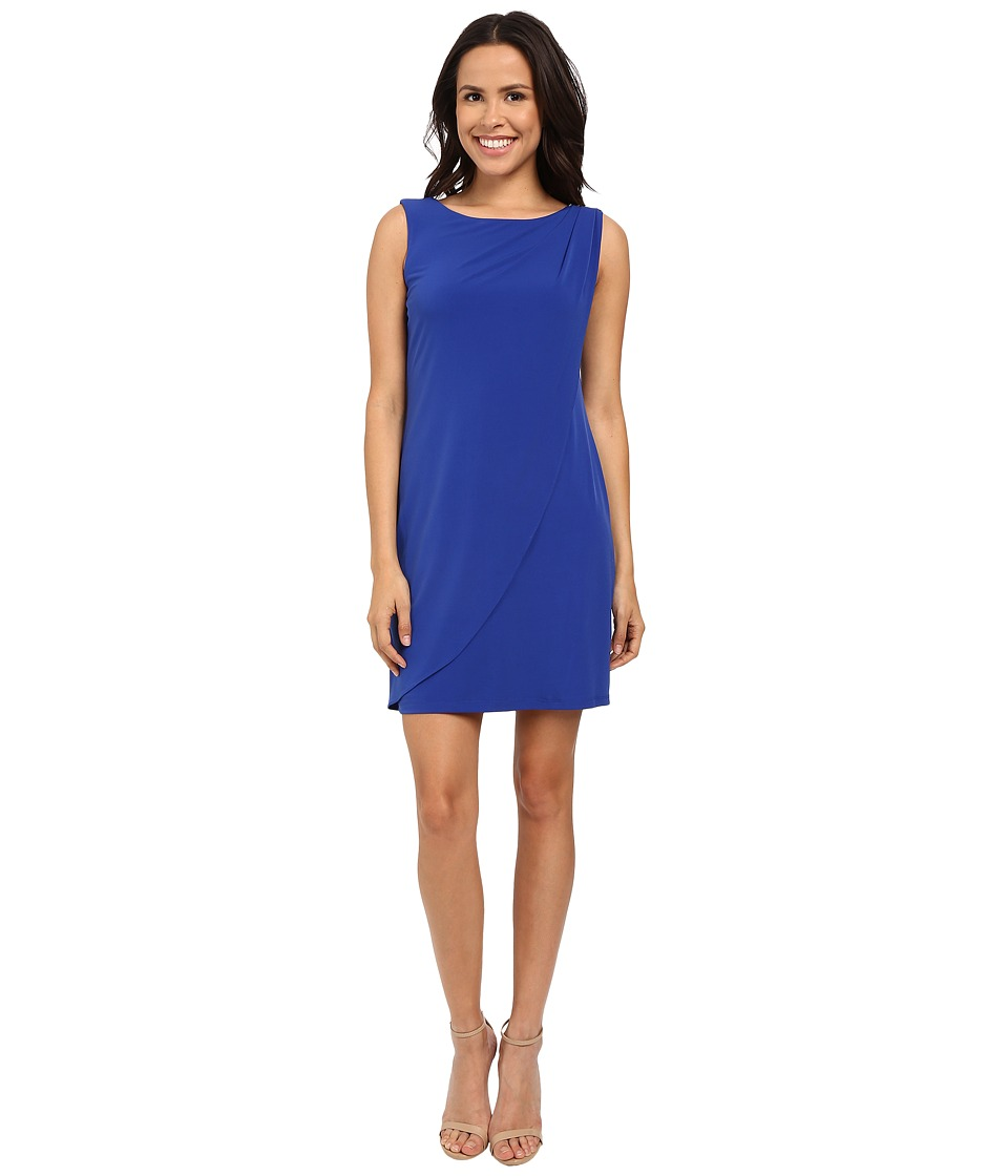 Jessica Simpson Sleeveless Ity Dress with Front Drape (Cobalt) Women