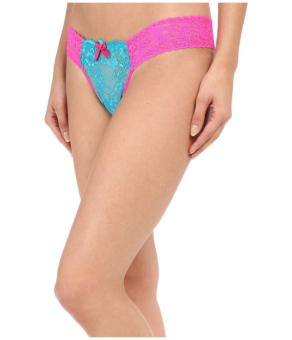 Hanky Panky - Bahama Mama Low Rise Diamond Thong (Peacock/Passionate Pink) Women's Underwear