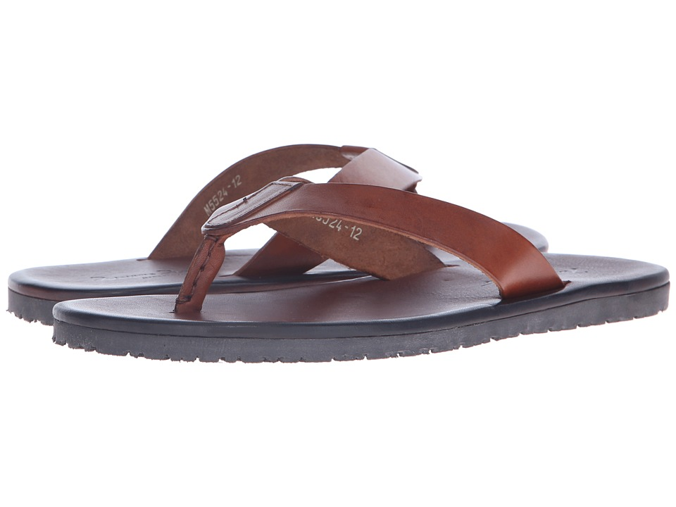 Massimo Matteo - Leather Thong Sandal (Tan) Men's Sandals