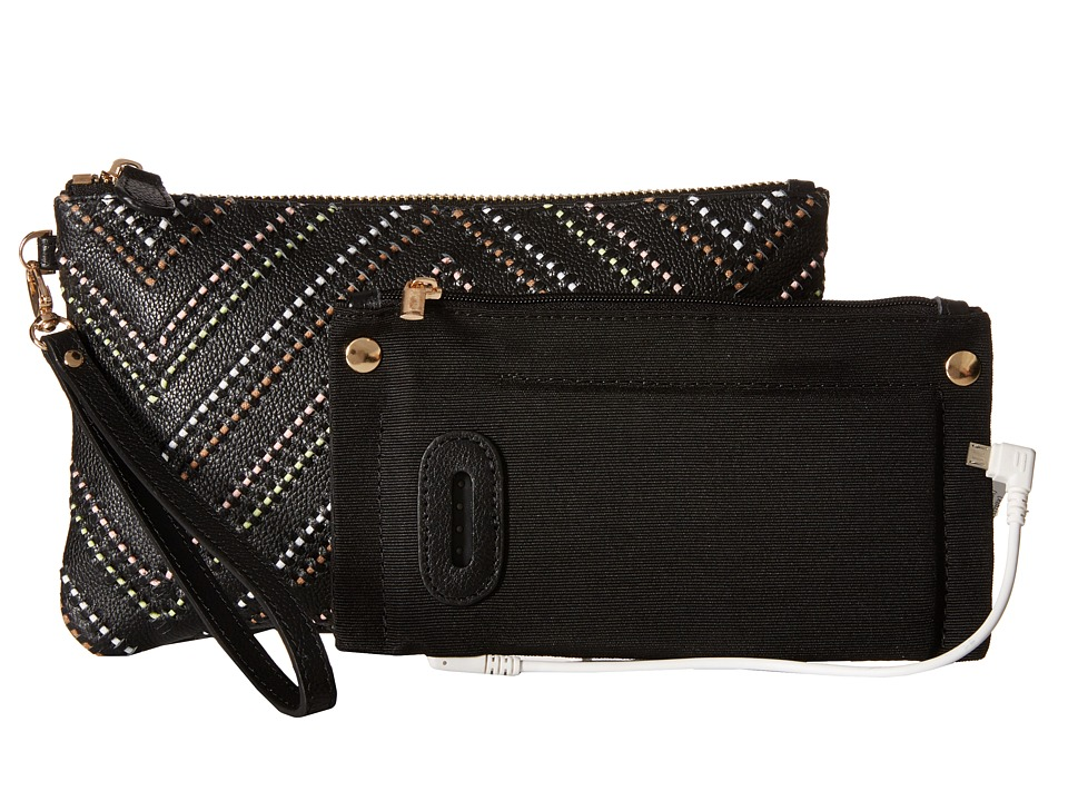 Mighty Purse - Cow Leather Charging Wristlet (Tribal Black) Handbags