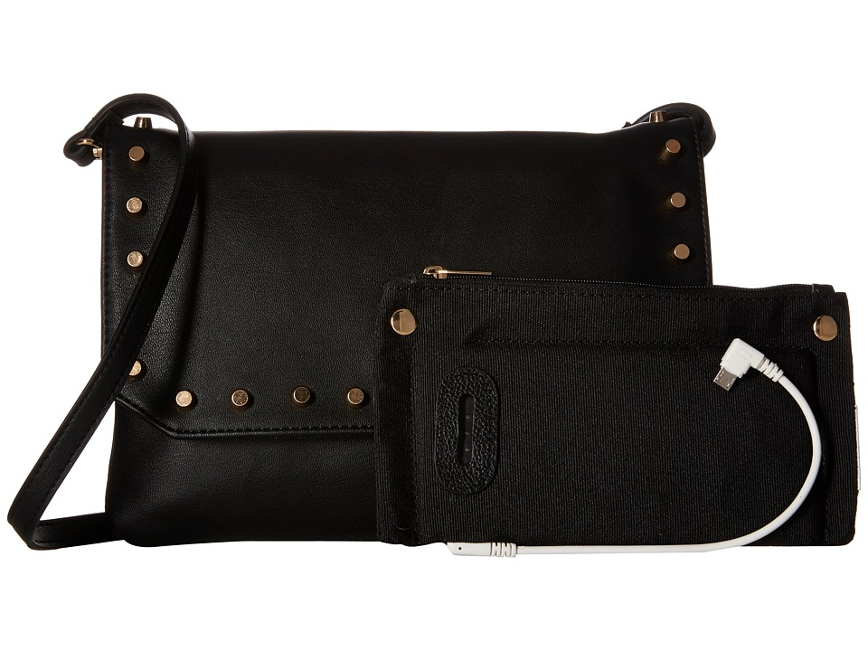 Mighty Purse - Vegan Leather Charging Flap X-Body Bag (Black w/ Gold Studs) Handbags