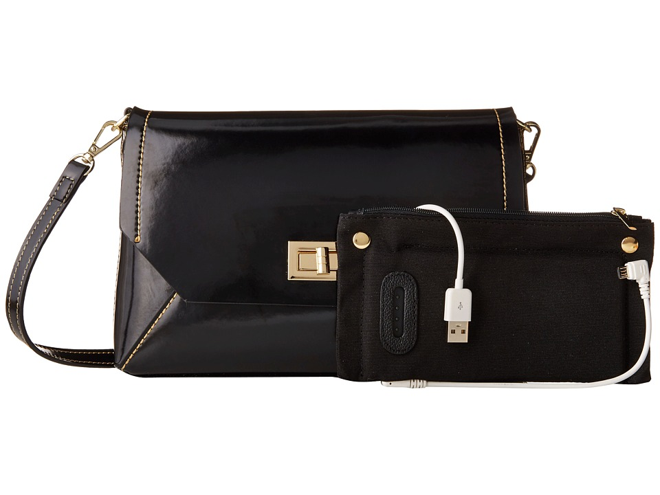 Mighty Purse - Micro Fibre Charging Mila X-Body Bag (Black) Cross Body Handbags