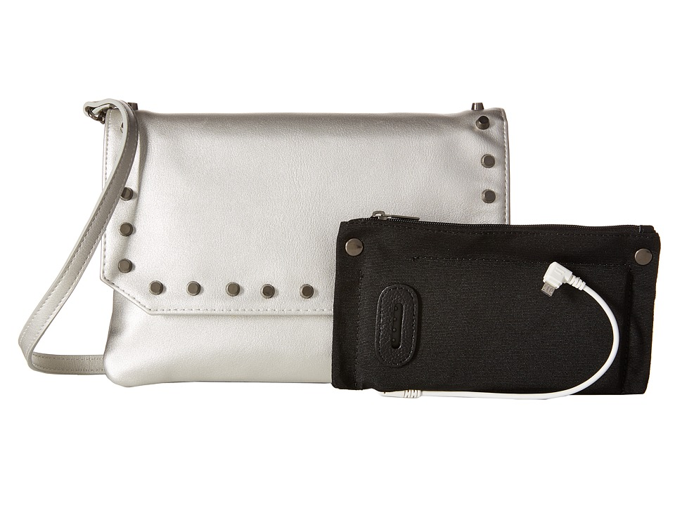 Mighty Purse - Vegan Leather Charging Flap X-Body Bag (Silver Snake w/ Gunmetal Studs) Handbags