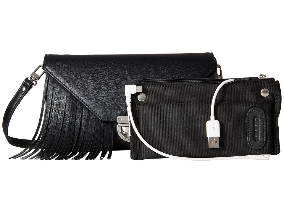 Mighty Purse - Vegan Leather Charging Tassel Wallet Bag (Black) Wallet Handbags