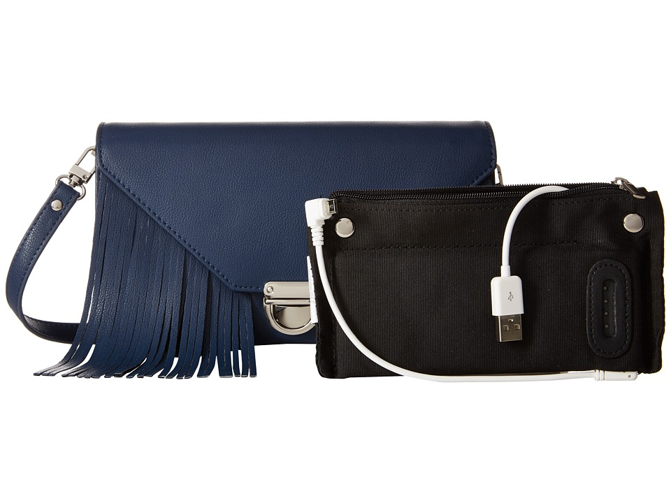 Mighty Purse - Vegan Leather Charging Tassel Wallet Bag (Navy) Wallet Handbags