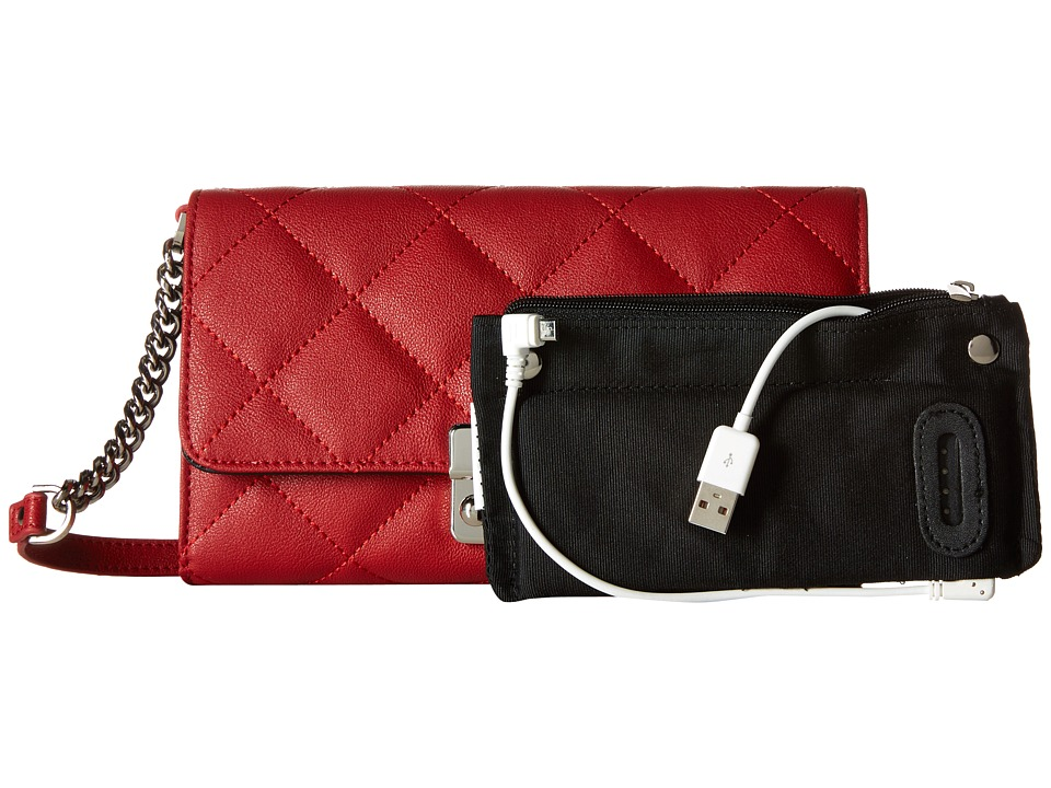 Mighty Purse - Vegan Leather Charging Quilted Wallet Bag (Red w/ Silver Buckle) Wallet Handbags