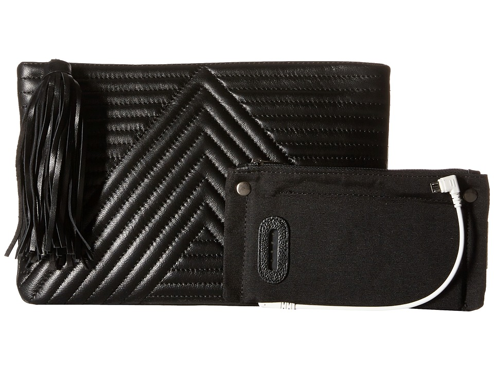 Mighty Purse - Goat Leather Charging 'Geo Clutch (Black) Clutch Handbags