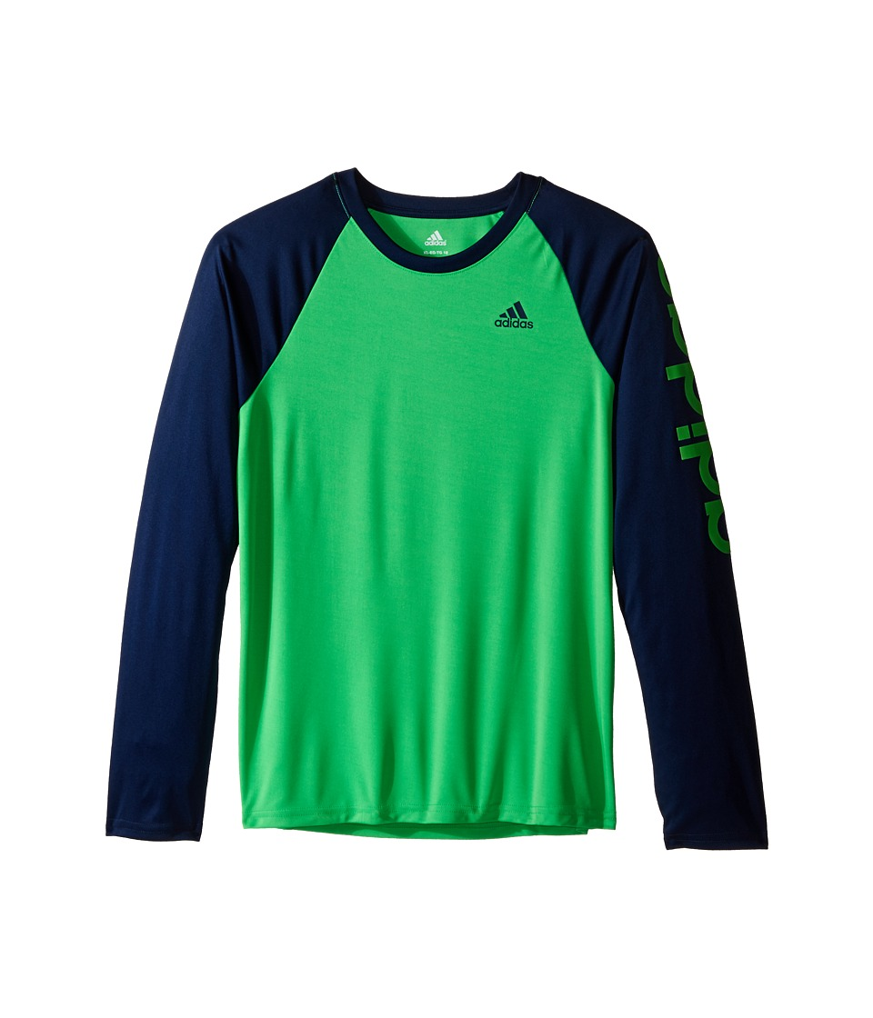 adidas Kids - Climalite Long Sleeve Tee (Big Kids) (Solar Lime/Collegiate Navy) Boy's Long Sleeve Pullover
