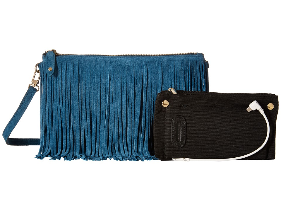 Mighty Purse - Suede Leather Charging Fringe Bag (Blue) Handbags
