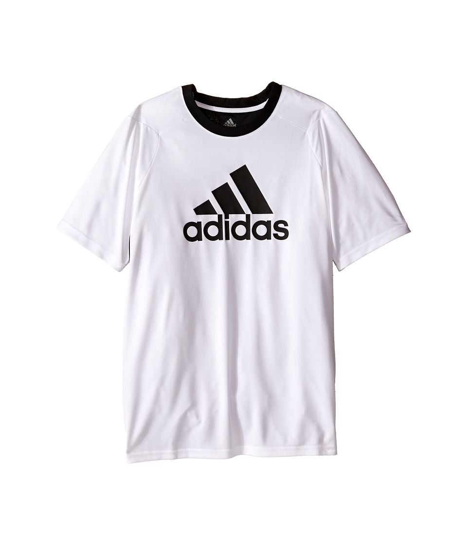 adidas Kids - Short Sleeve Training 4.0 Shirt (Big Kids) (White/Black) Boy's Short Sleeve Pullover