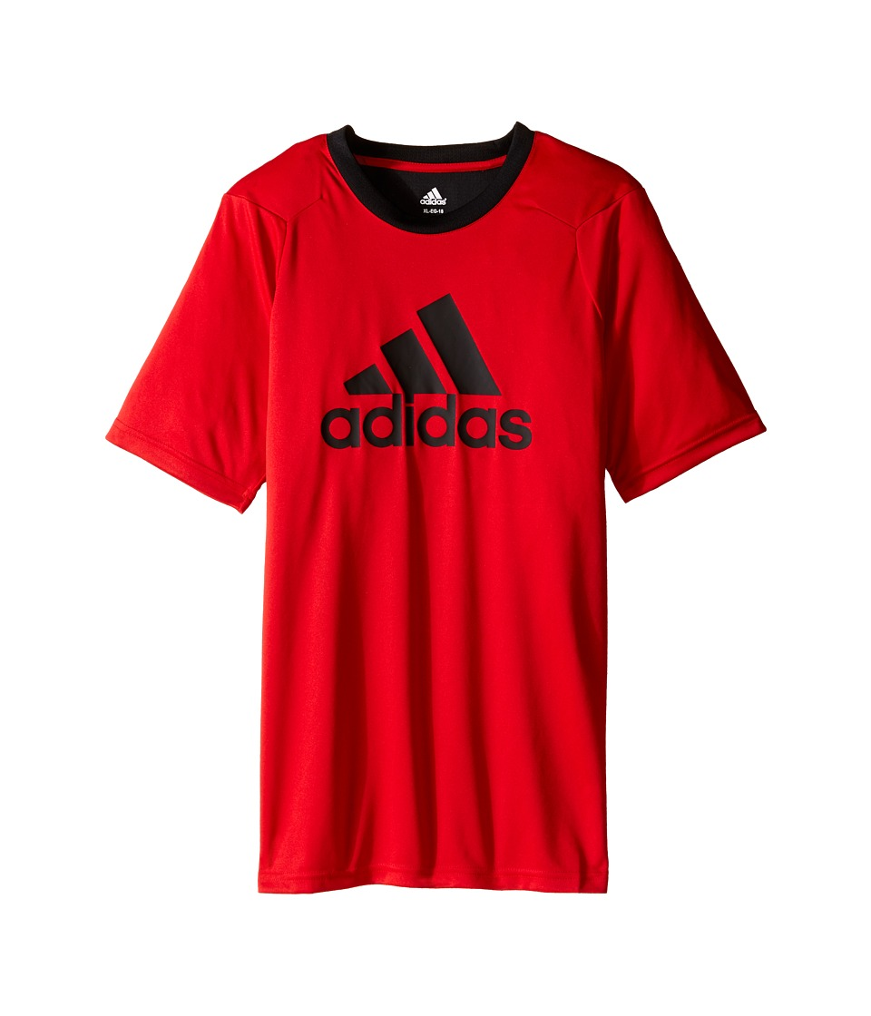 adidas Kids - Short Sleeve Training 4.0 Shirt (Big Kids) (Scarlet/Black) Boy's Short Sleeve Pullover
