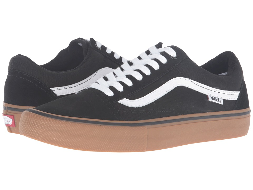 Vans - Old Skool Pro (Black/Gum/White) Men's Skate Shoes