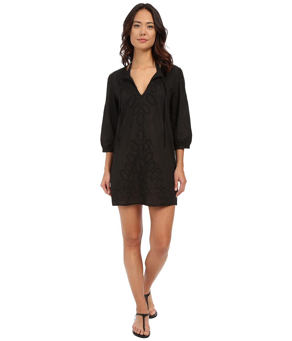 Echo Design - Ocean Eyelet Tunic (Black) Women's Short Sleeve Pullover