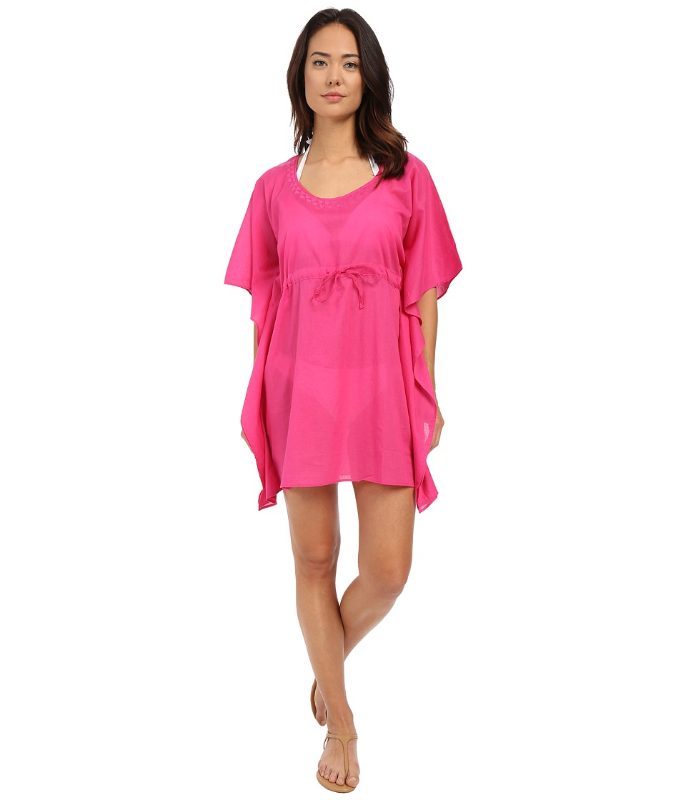Echo Design - Solid Embroidered Butterfly Top (Fuchsia Flower) Women's Short Sleeve Pullover