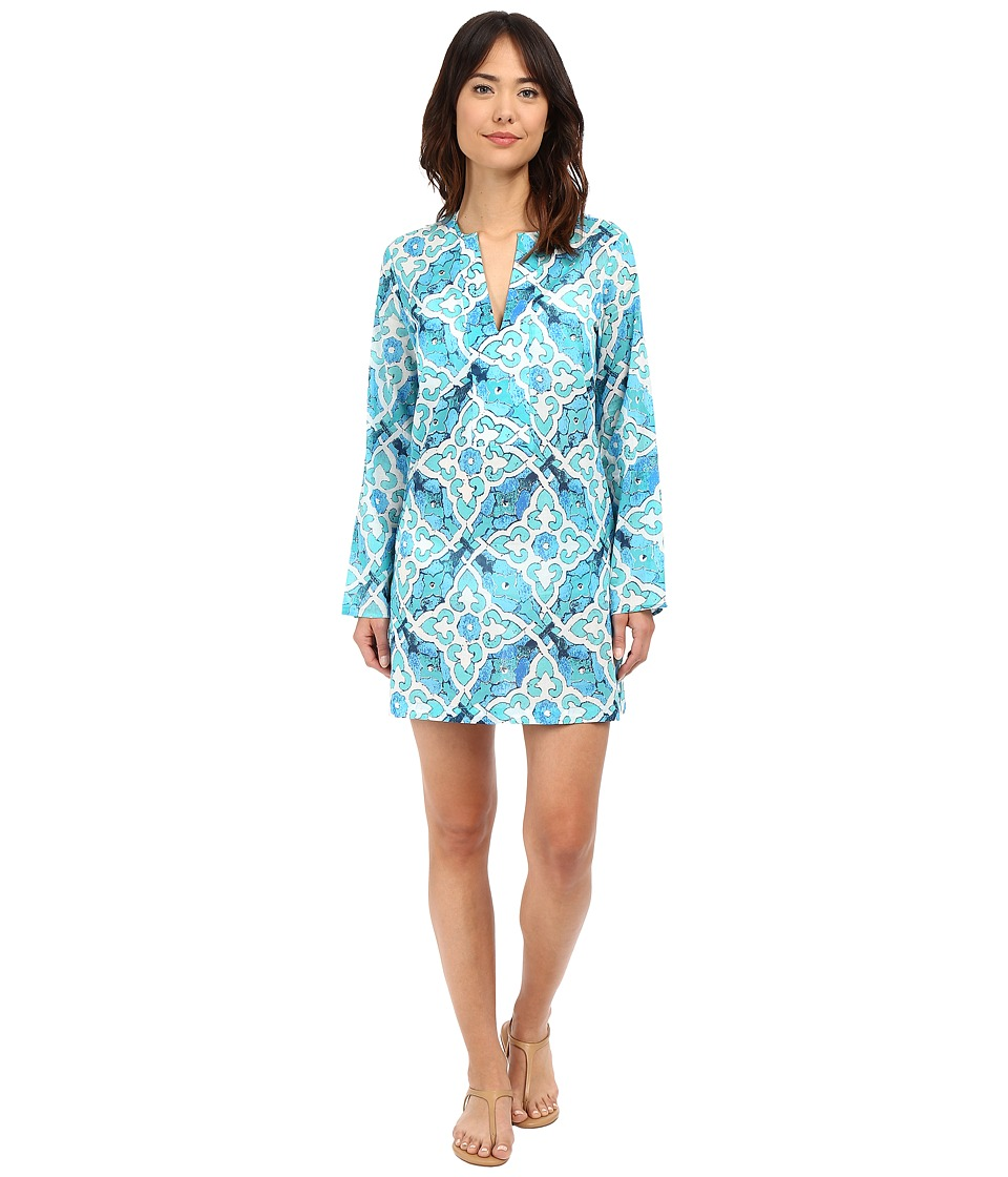 Echo Design - Tropic Medallion Dorothy Tunic (Caribbean Blue) Women's Short Sleeve Pullover