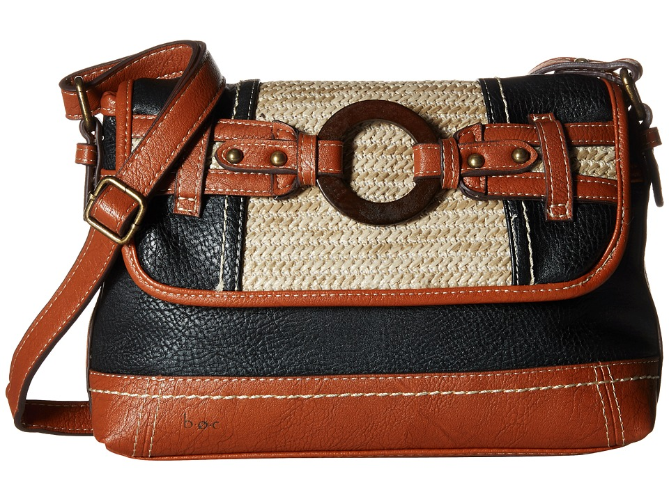 b.o.c. - Nayarit Straw Flap Crossbody (Black Straw) Cross Body Handbags