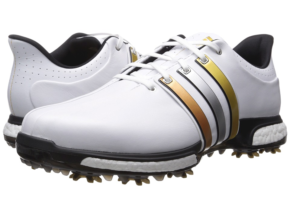 adidas Golf - Tour 360 Boost (Ftwr White/Gold Metallic/Core Black) Men's Golf Shoes