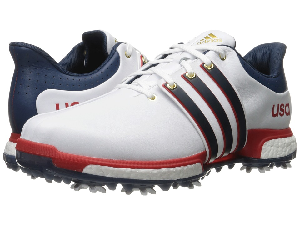 adidas Golf - Tour 360 Boost (Ftwr White/Mineral Blue/Scarlet) Men's Golf Shoes