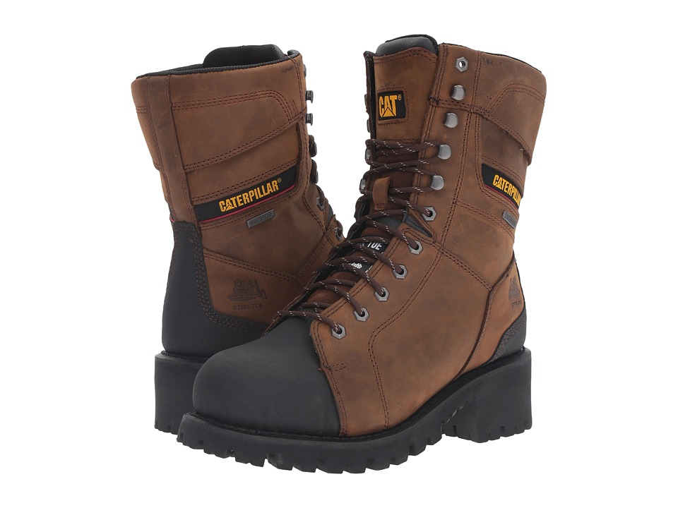 Caterpillar - Casebolt Waterproof TX Steel Toe (Dark Brown) Men's Work Lace-up Boots