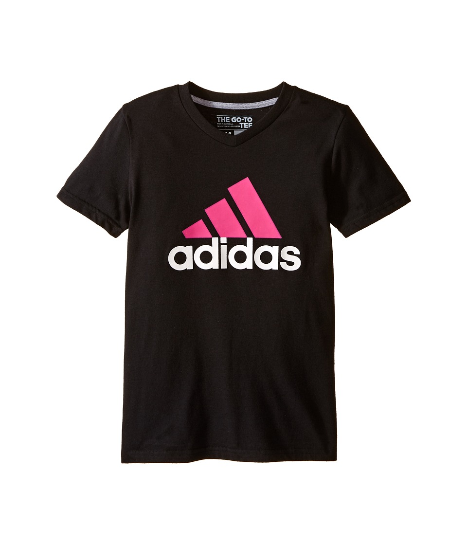 adidas Kids - Adi Logo Short Sleeve Tee (Big Kids) (Black/Shock Pink) Girl's T Shirt