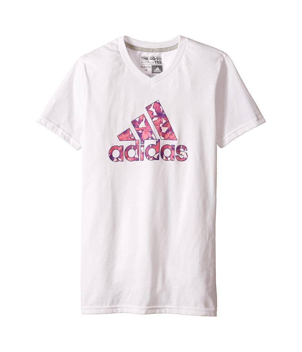 adidas Kids Flower Adi Logo Tee (Big Kids) (White) Girl