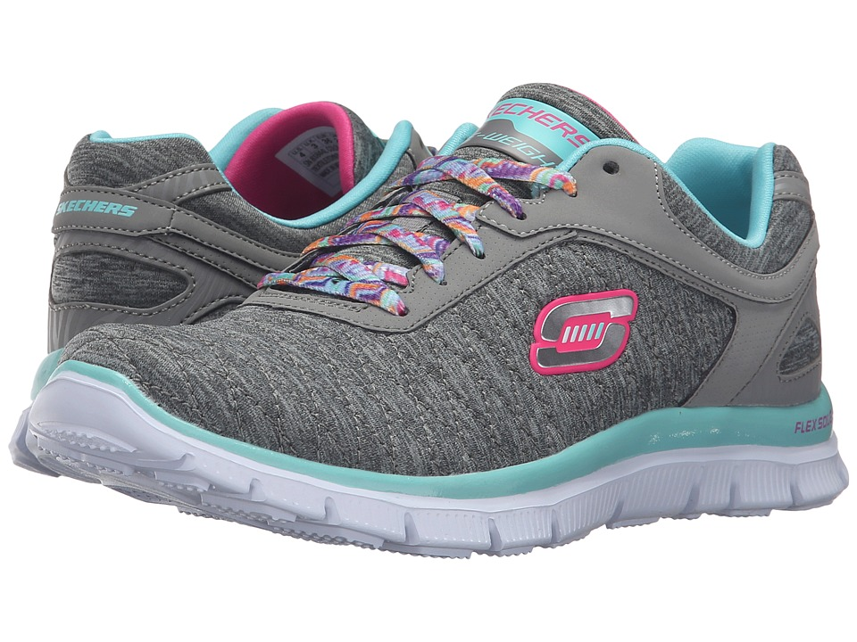SKECHERS KIDS - Skech Appeal - Eye Catcher 81844L (Little Kid/Big Kid) (Grey/Aqua) Girl's Shoes