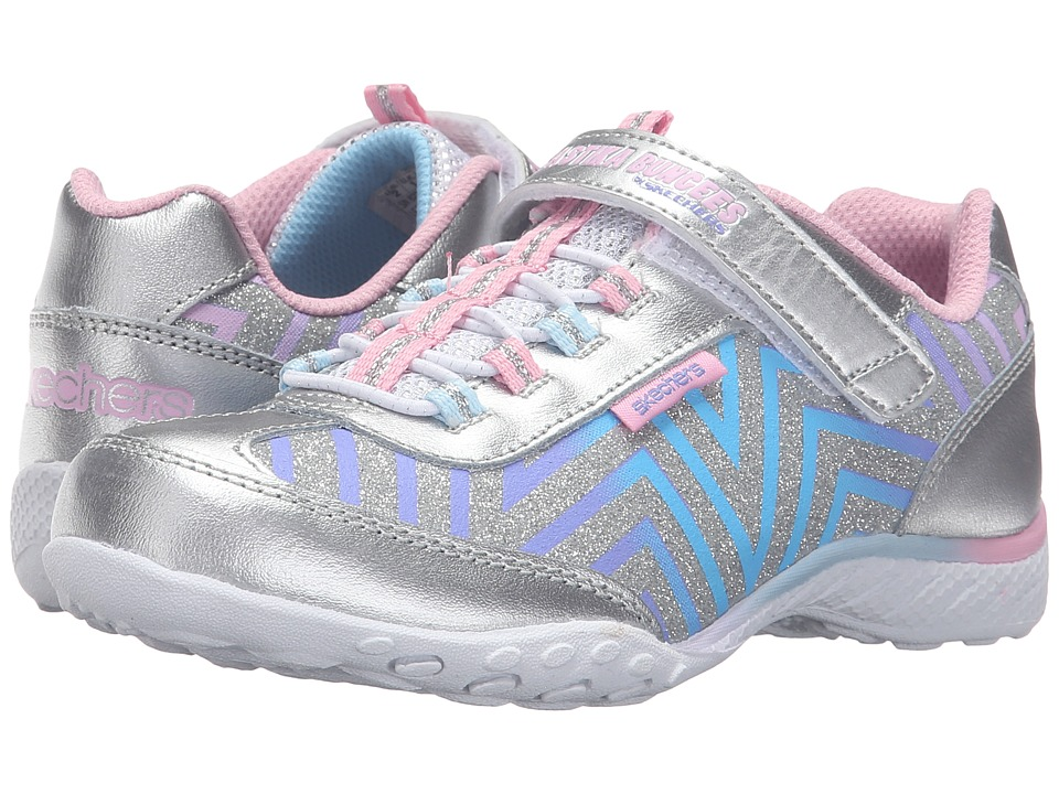 SKECHERS KIDS - Breathe Easy 82292L (Little Kid/Big Kid) (Silver/Multi) Girl's Shoes