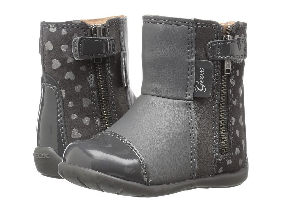 Geox Kids - Baby Kaytan Girl 27 (Infant/Toddler) (Dark Grey/Dark Silver) Girl's Shoes
