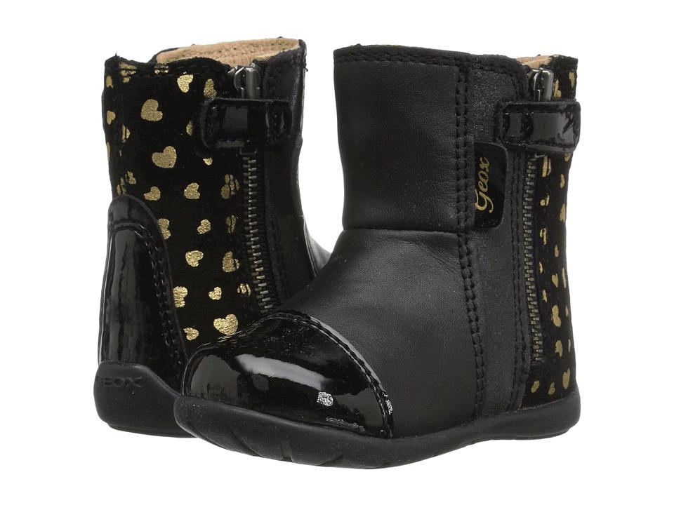 Geox Kids - Baby Kaytan Girl 27 (Infant/Toddler) (Black/Gold) Girl's Shoes