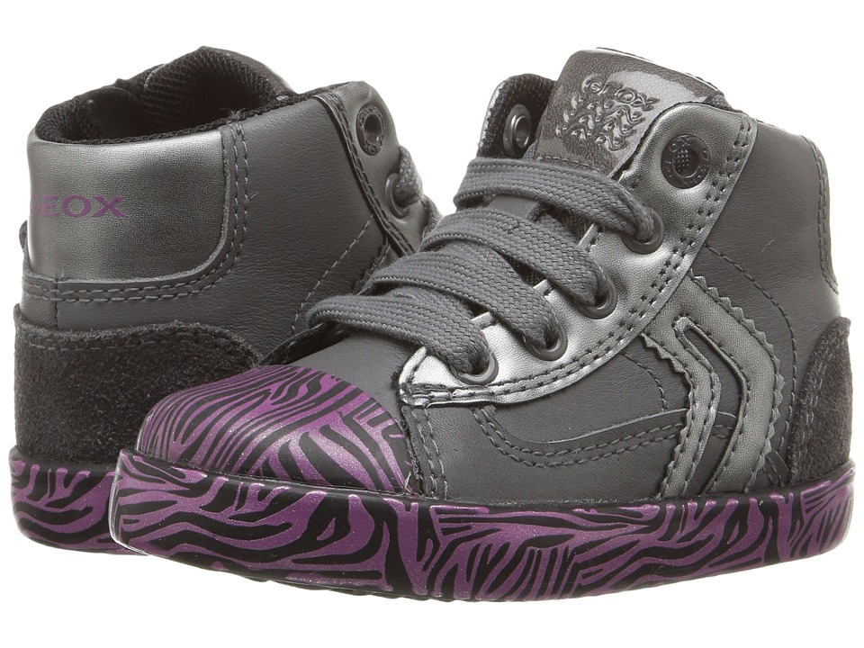 Geox Kids - Baby Kiwi Girl 75 (Toddler) (Dark Grey/Fuchsia) Girl's Shoes