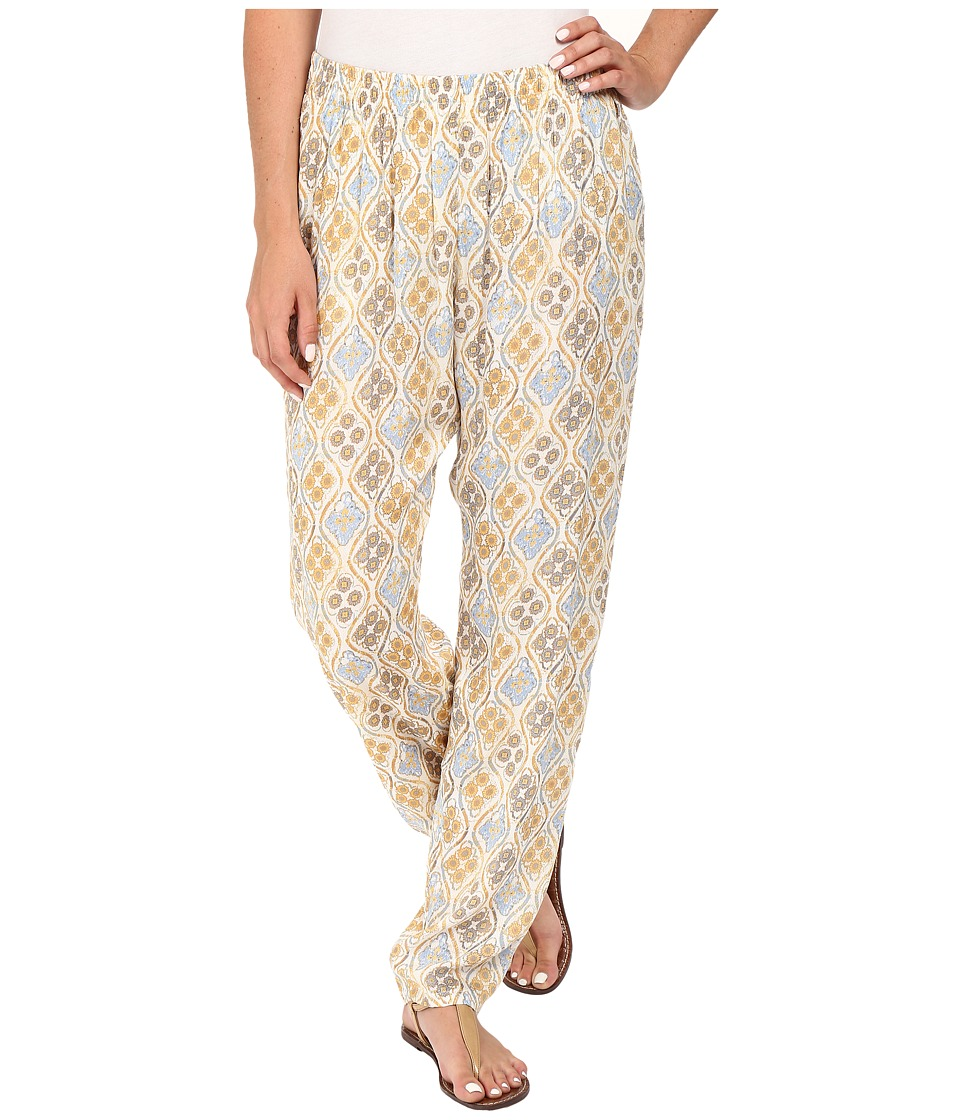 Stetson - Floral Batik Relaxed Fit Pants (White) Women's Casual Pants