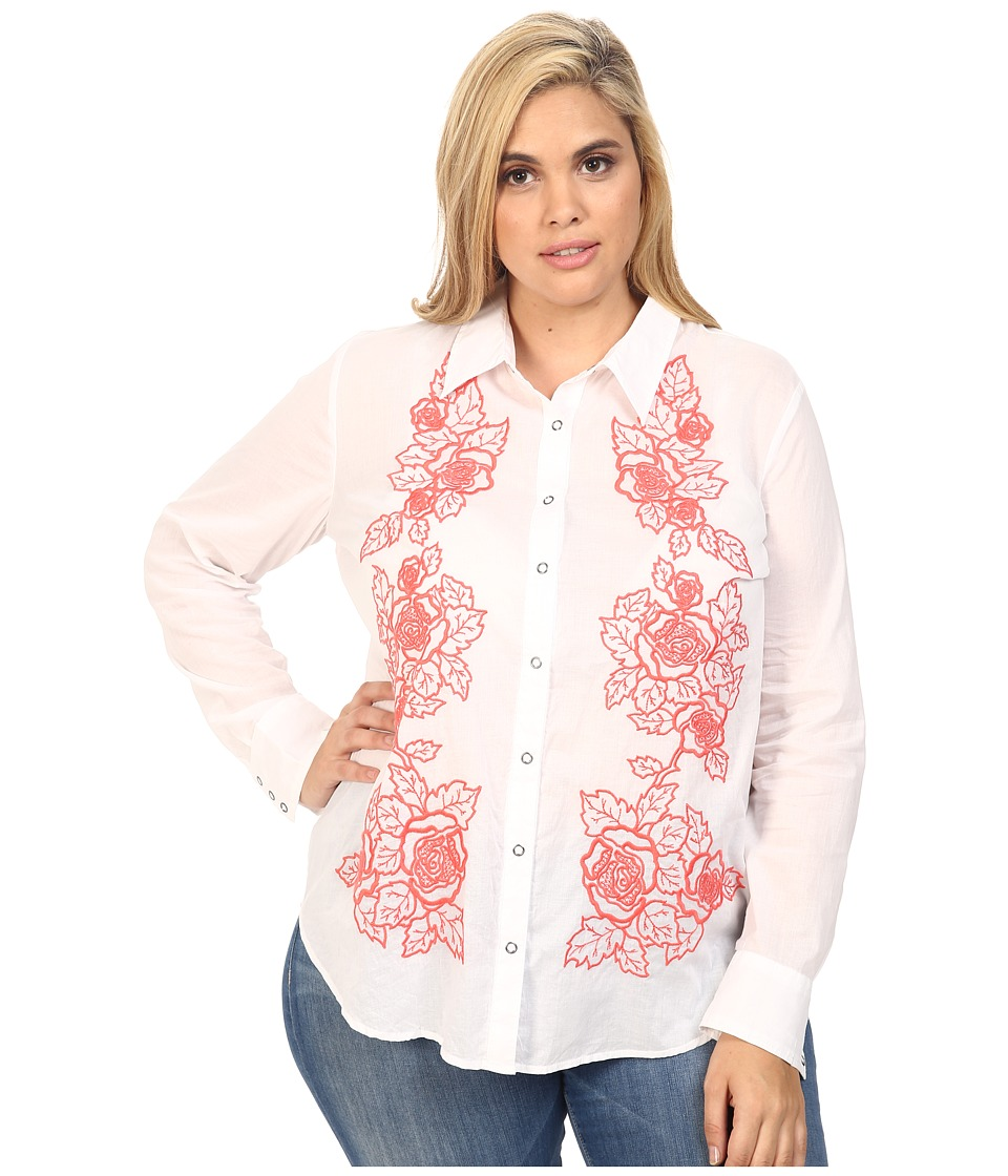 Stetson - Plus Size White Voile Long Sleeve Woven Shirt (White) Women's Clothing